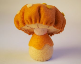 Eco-Friendly natural wool felt stuffed mushroom doll / Ollie