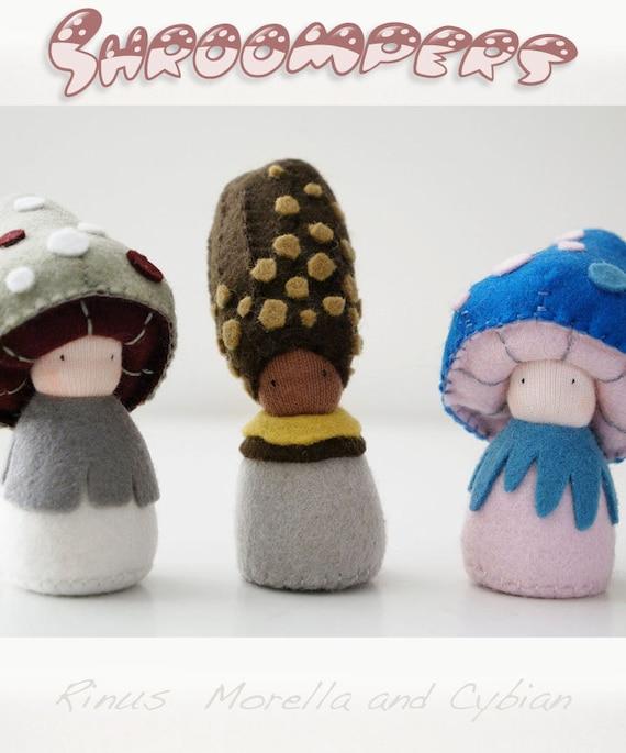 Felt mushroom figures, Waldorf toys, Organic toys, Eco friendly toys - Rinus, Morella andCybian