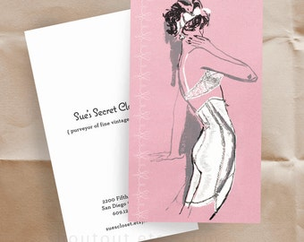 Business Cards - Vintage Lingerie - Fashion Illustration - Sixties - 100 Custom Cards