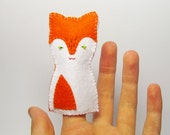 Fox felt finger puppet - 1 pcs, Soft Felt Animal Toy, kids, children, baby, nursery, gift, orange and white