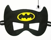 Batman felt mask (2 years - adult size) - Black Yellow - Superhero childrens costume boy Birthday party gift soft Dress up play accessory