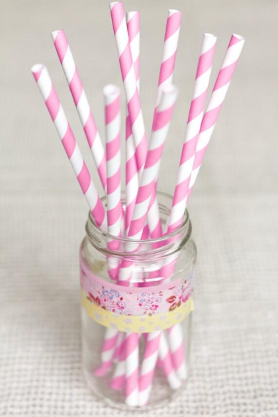 15 Cannucce a righe fucsia e bianche - 15 Hot Pink and White Striped Paper Straws