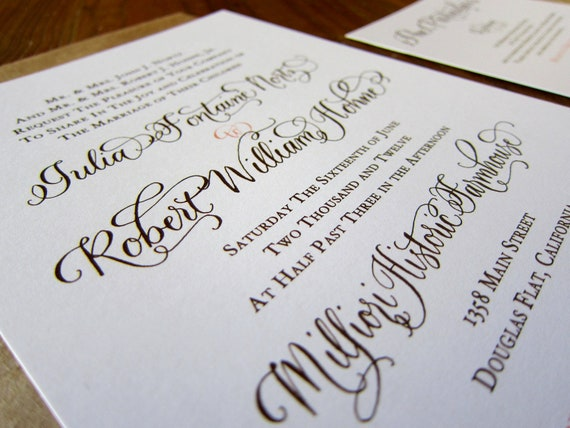 Custom Calligraphy Letterpress Wedding Invitation - or Digital Design for Print - Partial Calligraphy