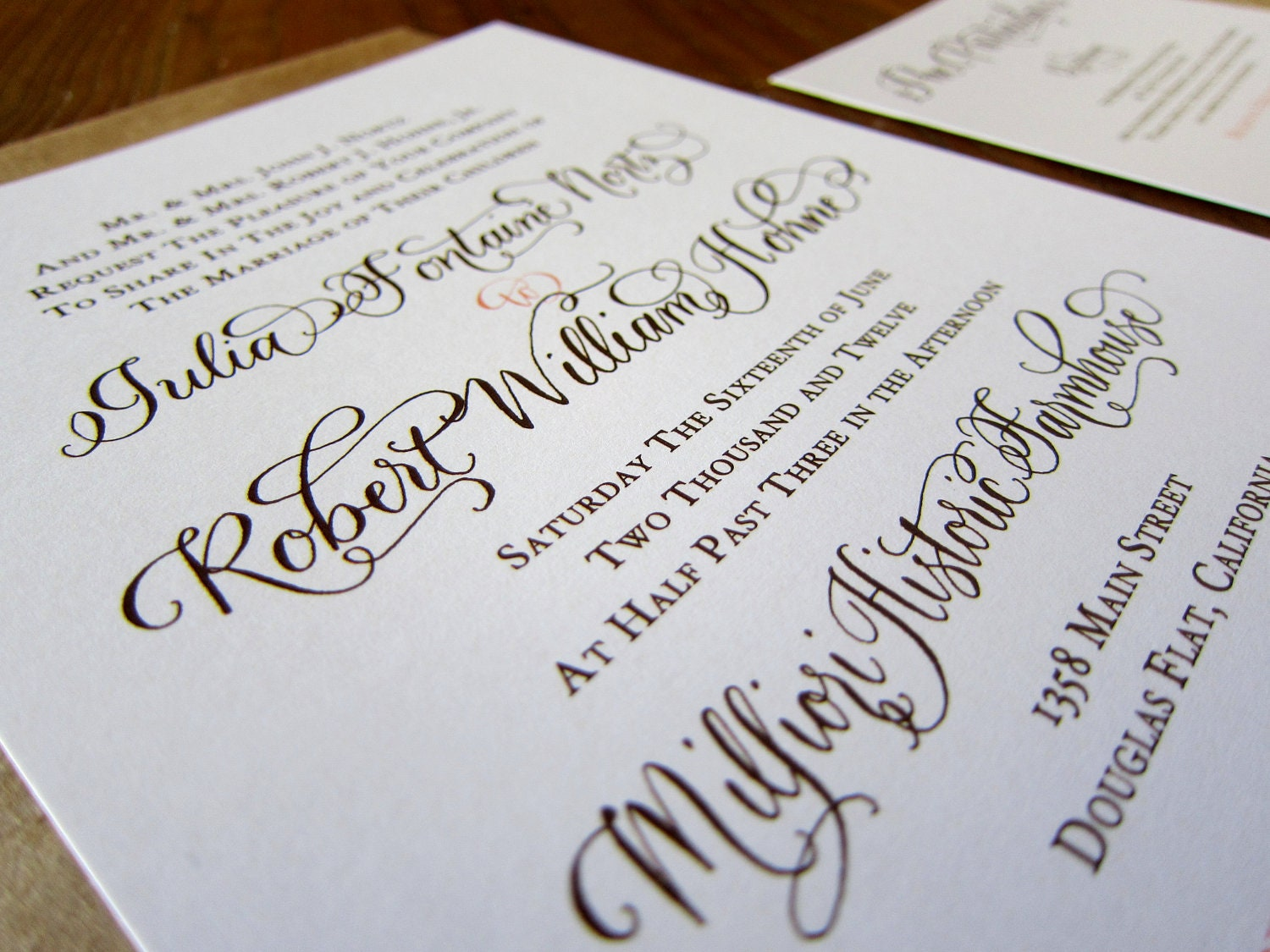 Custom Calligraphy Letterpress Wedding Invitation Or Digital