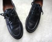 vintage RALPH LAUREN clunky black leather oxford