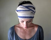 Striped Head Scarf, Hair Wrap, Headband - All in One Womens Neck Bow - Ascot - Sash - Denim Blue, Tan, Straw Stripes
