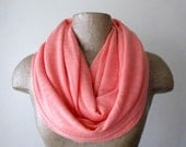 Coral Infinity Scarf - Handmade Coral Circle Scarf - Jersey Knit Slub Loop Scarf - Womens Scarf