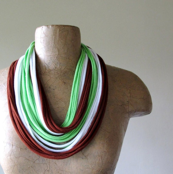 Closeout Sale - Skinny Scarf Necklace - Eco Friendly Cotton Jersey Infinity Scarf - Brick Red, Lime Green, White