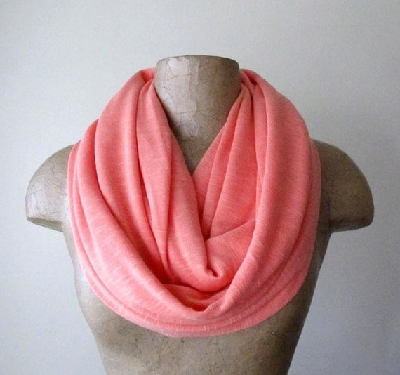 Coral Infinity Scarf - Handmade Coral Circle Scarf - Jersey Knit Slub Loop Scarf - Womens Scarf