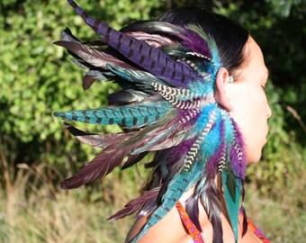 Handmade Large Feather Ear Cuff, Feather Headpiece, Tribal Feather Headdress, Festival Headdress, Peacock, Teal Feathers, Burning Man