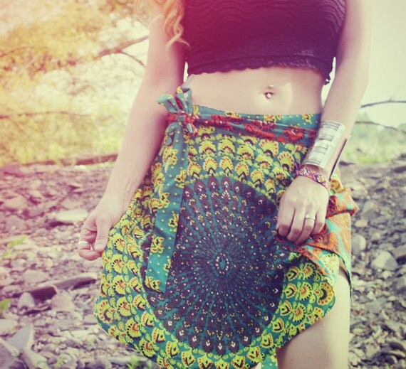 Mini Wrap Skirt, Peacock Hippie Skirt, Cover-Up, Boho, Gypsy, Blue Sunburst, Peacock Print, Skirt, Bohemian, Festival Skirt