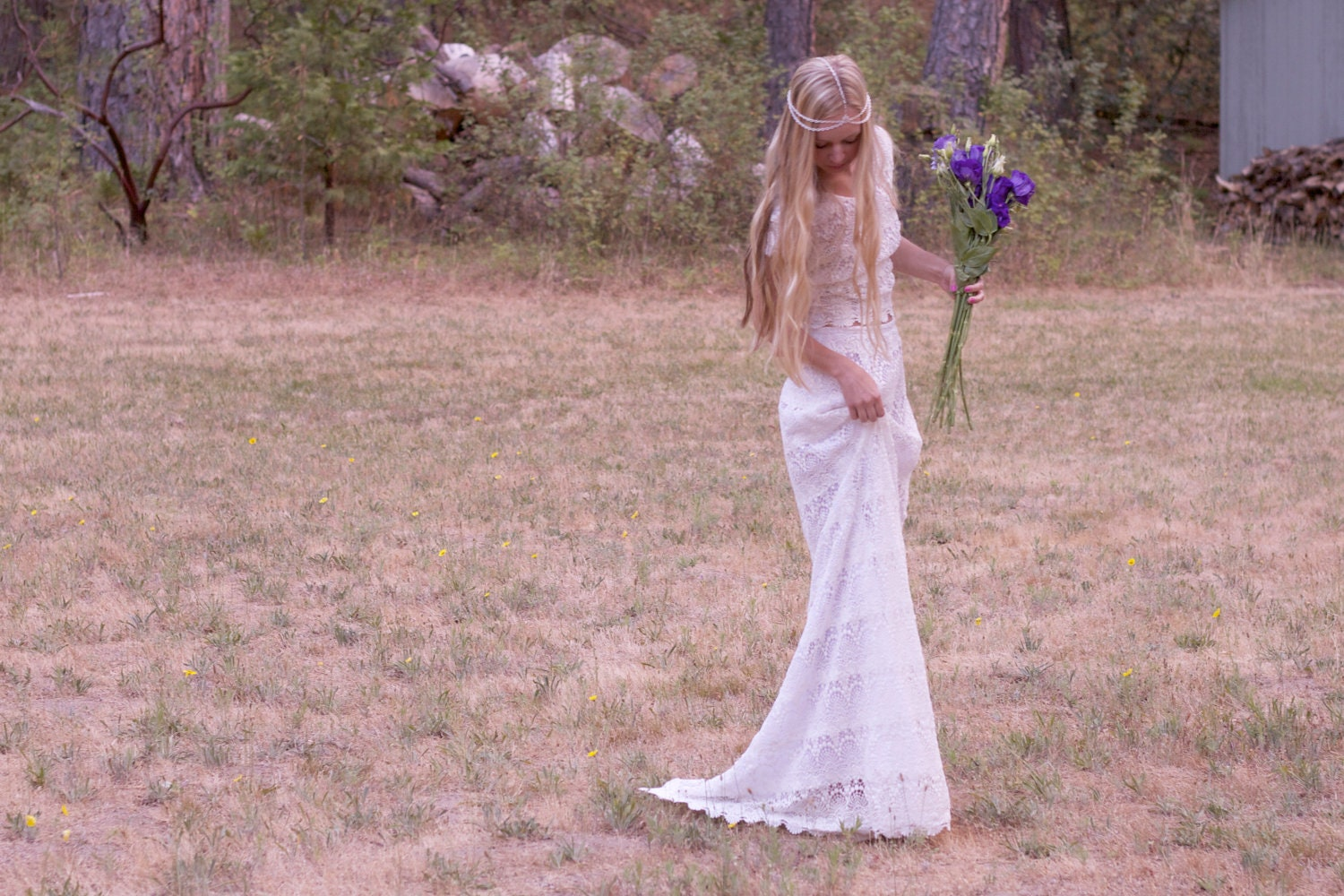 Bohemian wedding dresses maxi dress crochet by for Bohemian white wedding dress
