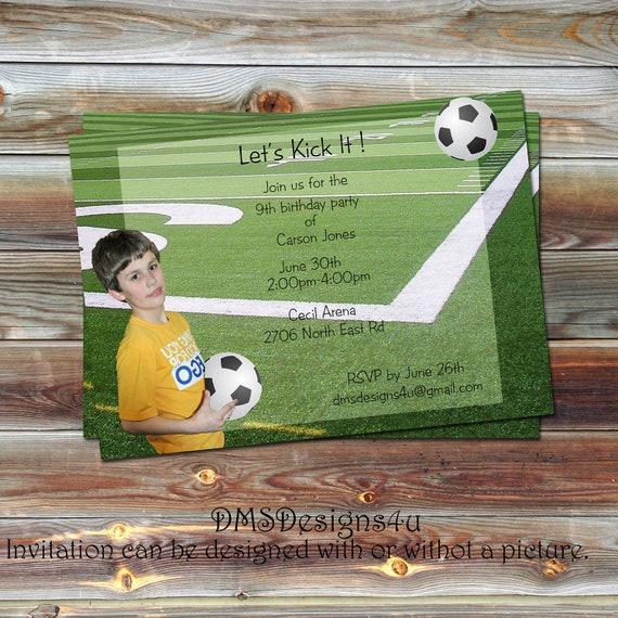 Sports Themed Soccer Birthday Photo Invitation