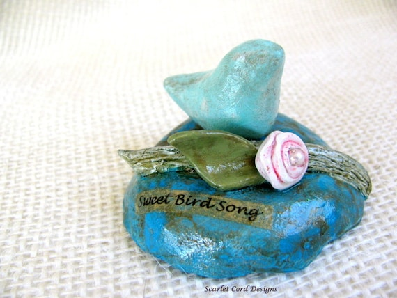 Clay Bird Decoration - Bird, Branch and Flower Clay Sculpture Table Top Ornament