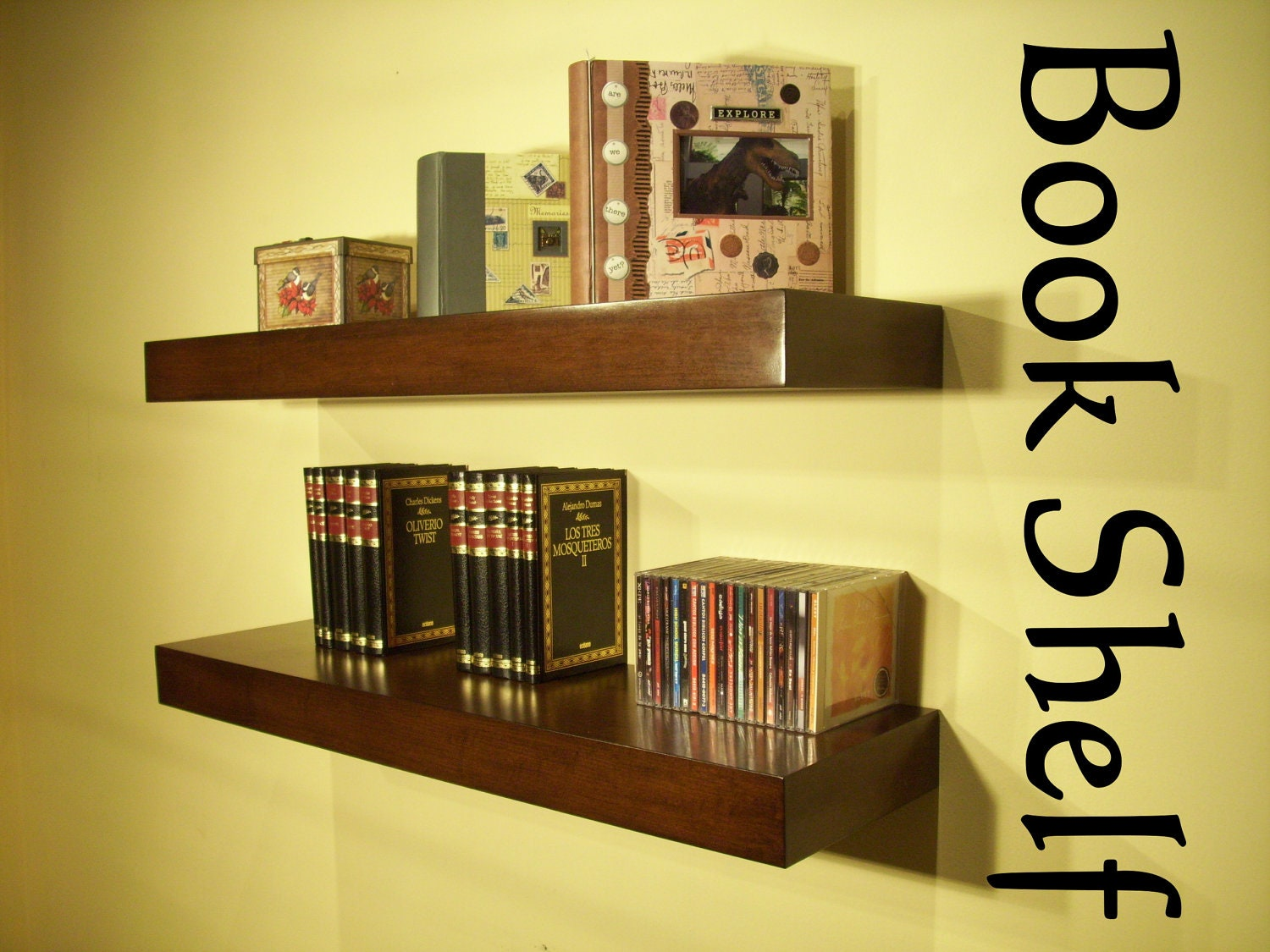 Superb img of 36 x 12 x 2 3/4 Floating Wood Shelves SET OF TWO by MrSelecta with #B4A817 color and 1500x1125 pixels