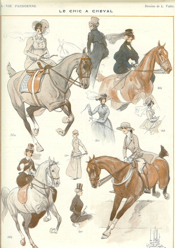 1920s Art Deco La Vie Parisienne 100 Years Of The Fashion Of Horsewomen Print By L.Vallet. Ideal For Framing