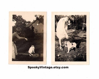 Here Kitty, Kitty - Vintage Photographs Snapshots - Very Unusual