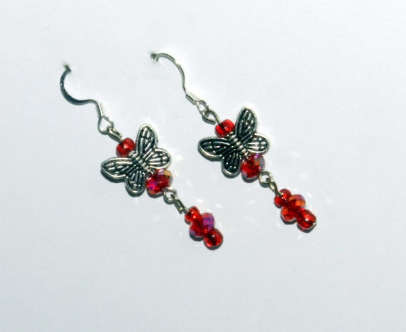 CLEARANCE - Red and silver beaded butterfly dangle earrings (J23)