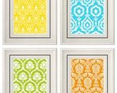 Set of Four Modern Colorful Wall Art - Print Set - Home Decor - 8x11 Print (Unframed)
