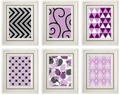 Set of Six Modern/Vintage Purple/Black Wall Art - Print Set - Home Decor- Gift (Unframed)