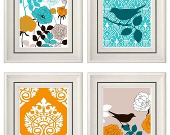 Set of Four Modern Vintage Turquoise/Orange Wall Art - Print Set - Home Decor - 8x11 Prints (Unframed)