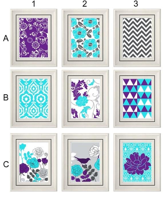 set of three modern turquoise purple wall art any 3 8x11. Black Bedroom Furniture Sets. Home Design Ideas