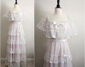 Reserved//70's Senorita Ruffle Wedding Dress. Mexican Boho Maxi Peasant Dress. Size Medium