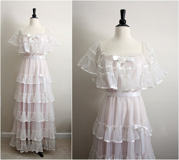 Reserved//70's Senorita Ruffle Wedding Dress. Mexican Boho Maxi Peasant Dress. Size Medium