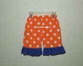 Orange Polka Dot Pants with Royal Blue Ruffle