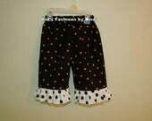 Black/Orange Polka dot pants with Black/White Polka Dot Ruffle