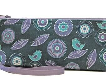 Pretty Bird Patterned Zipper Pouch, Floral, Handmade, Deep Blue, Purple, Green
