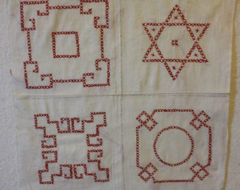Red Cross Stitch Embroidery on 2 Panels Total 8 Embroidry Designs