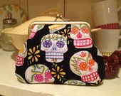 Retro vintage style  mexican day of the dead sugar skull fabric kiss lock coin purse wallet