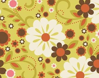 04285- Zoe Pearn  for Riley Blake Indian Summer Main in Green color- 1 yard