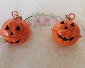 Cute Metal Pumpkin / Halloween Bell Earrings