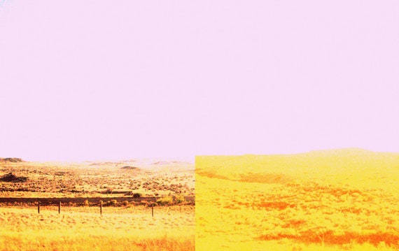 Modern Art Diptych Minimalist Color Landscape Road Trip Photography 11x14 Pink Sky, Yellow Fields