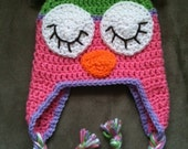 Sleepy Owl Hat with Earflaps
