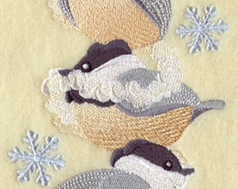 Festive Flock of Christmas Chickadees Embroidered Flour Sack Hand/Dish Towel