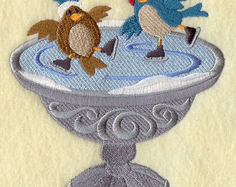 Ice Skating Birds Embroidered Flour Sack Hand/Dish Towel