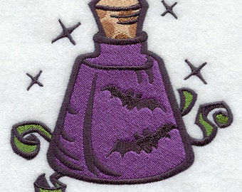 Halloween Glam Witch Potion Bottle Embroidered Flour Sack Hand/Dish Towel