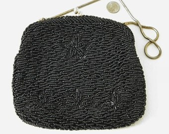 Vintage Black Glass Hand Beaded Purse Evening Bag 40s - 50s Hong Kong