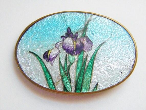 Vintage Enamel Guilloche Buckle - Purple Iris