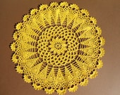 yellow  crochet doily round doilies  11 inches lace placemat