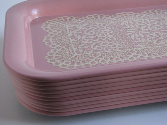 RESERVED Vintage Pastel Pink Metal Serving Trays - Set of Ten