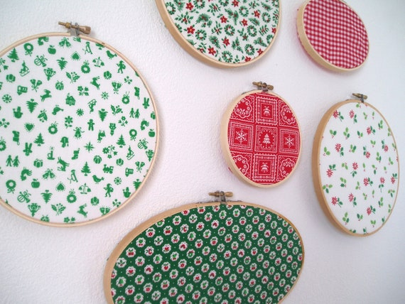 Vintage Christmas Fabric Wall Art- Embroidery Hoop Frame- Set of Six- Red, Green, White- Folk Prints