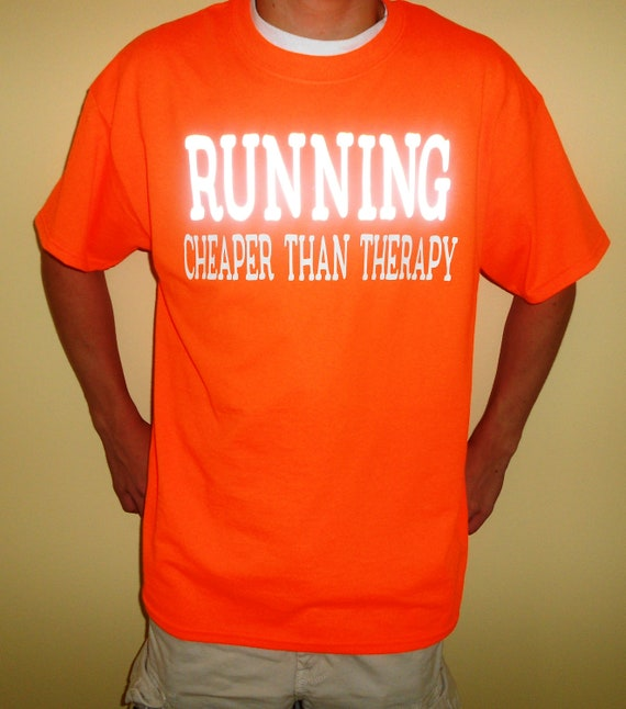 Custom neon running shirt with reflective lettering for Neon custom t shirts