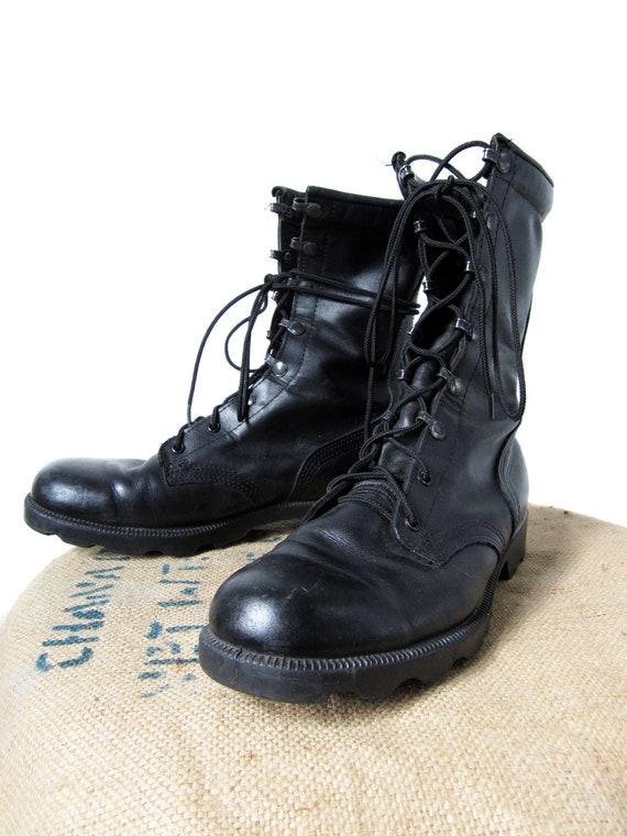 Black Military Boots Altama Jungle Boots Vintage 1980s - Men's Size 9 R