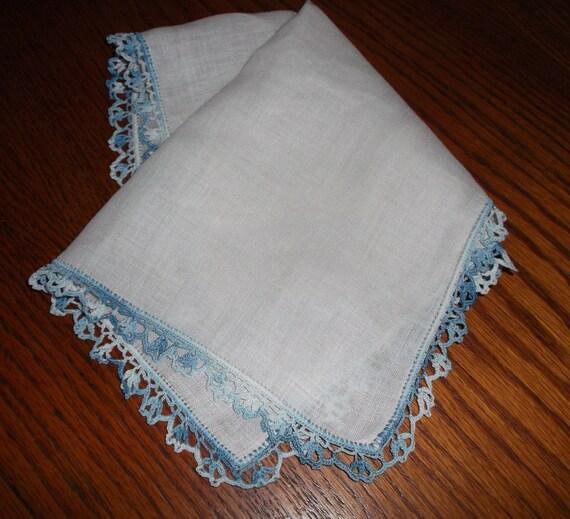 Irish linen hanky with crochet blue varigated edging