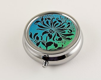 Victorian inspired Pill Box - Floral Stencil Design in Black, Green and Blue, Pill Holder, Travel Pill Box, Pill Organizer