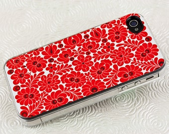 Floral, Crimson Red iPhone Case, Vintage Flowers, iPhone 4 5 6 case, Asian Art Deco style Modern iPhone Case, Plastic iPhone Case